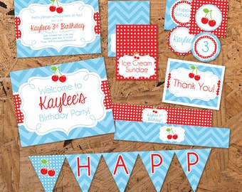 Girl Birthday Party Set - Cherry On Top - Red and Blue