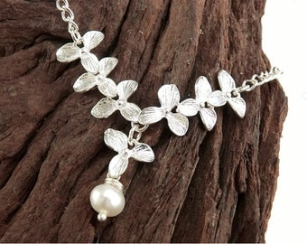 Orchid Freshwater Pearl Bracelet, Wedding Gift, Bridesmaid Gift, Maid of Honor Bracelet, Bride Bracelet