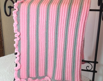 Pink & Gray Crocheted Baby Blanket Afghan Throw Lapghan, Nursery Decor, Baby Shower Gift, Toddler Gift, Photo Prop, Free Ship, Made in USA