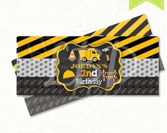 Construction Candy Bar Wrappers | Constuction Birthday Party Printables | Dump Truck Candy Bar Wrappers | YOU PRINT