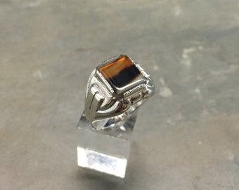 Size 10.5, vintage Sterling silver handmade ring, solid 925 silver with landscape stone, stamped Sterling, signed