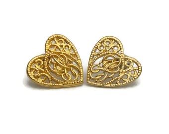 Ornate Gold Tone Filigree Heart Pierced Earrings Post Stud for Pierced Ears - Vintage 80s 90s Elaborate Scroll Open Design Romantic