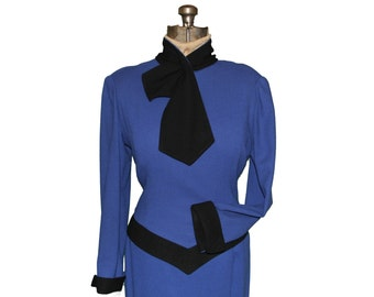 Wool Knit Top w/ Scarf 80's Designer No Label Royal Blue 100% Wool Lined St John?  teamvintageusa ecochic team