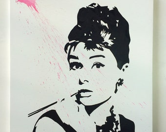 Modern painting Audrey Hepburn 100 x 100 cm. - Paintings on Canvas - Ready to Hang