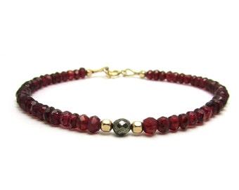 Red garnet bracelet, delicate garnet jewelry, January birthstone bracelet, bohemian garnet beaded bracelet, beaded stacking bracelet
