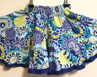 SALE!!!   Extra full ruffle twirly blue flower print skirt Size 4 to 8 -- Ready to ship