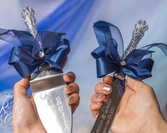 Cake Server Set, Navy Wedding Cake Server, Engraved Server and Knife, Cake Knife Set Personalized Cake Cutting Set, Wedding Cake Decoration