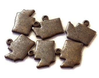 6x Antique Brass / Brown Patina Blank Washington State Charms - M073/AB-WA