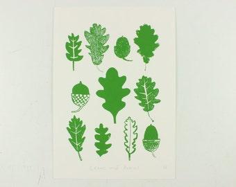 A3 Leaves and Acorns Screenprint