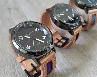 Natural Leather Watch (Vegetable Tanned Leather Watch Band with Denim)