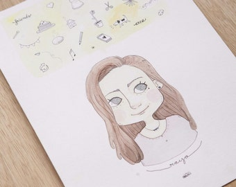 Custom Portrait | What's in my mind | Watercolor Illustration