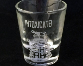 Fan Art Intoxicate Dalek Dr doctor Who Inspired Custom Etched Shot Glass Blue Police Box
