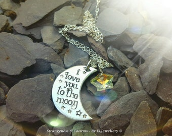 Hand Stamped 'Love you to the moon' Aluminium Moon Necklace, Swarovski Star, Moon Necklace, Stamped Jewellery, Moon,Stamped Metal Jewellery.