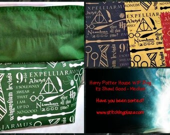 Sock to Shawl WIP Project Bag, Knitting, Crochet, Drawstring Project Bag, Wedge Styled Bag, Harry Potter / Hogwarts Inspired Project Bag