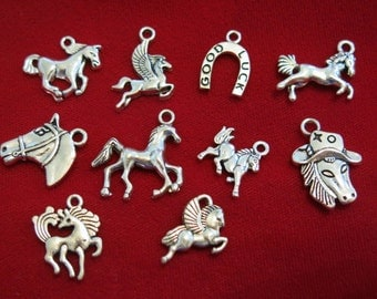 "10pc set ""horse"" charms in antique silver style (BC839)"