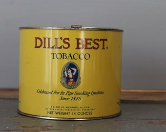 Dill's Tobacco Tin / Vintage Tobacco Can / Yellow Dill's Tobacco Tin / Vintage Home Decor / Antique Tin Collection / Large Dill's Tobacco