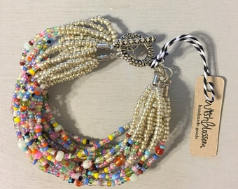 SALE! Handmade Multi Strand Beaded Bracelet in multi color