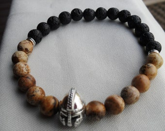 bracelet, men's bracelet, picture jasper, lava stone, spartan, warrior, spartan helmet, stretch bracelet, layering bracelet, gemstone