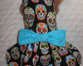 READY to SHIP Custom Boutique Skulls and Flowers Dog or Cat Dress XS or Small