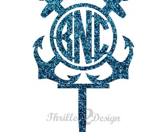8 inch Double Anchor with Circle Cut Monogram CAKE TOPPER - Celebrate, Party, Cake Decoration