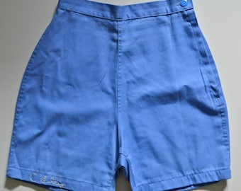 Vintage High Waisted Periwinkle Gym Shorts with Hand Stitched Personalization -- C. Lilley