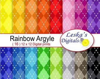Colorful Argyle Paper, Argyle digital scrapbook paper, Argyle patterned paper, Rainbow argyle backgrounds, Colorful digital download