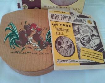 Rowdy Rooster! Vintage Hamburger Press, Unused in Orginal Box, Western Woods Portland Oregon