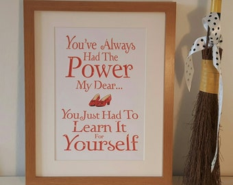 You've Always Had The Power My Dear DIGITAL A4 PRINTABLE Poster home decor, gift, the wizard of oz, glinda, inspirational quote, picture