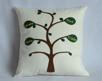 Family Tree cushion, made to order, bespoke, personalised Family tree pillow, Mother's Day