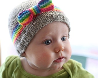 RainBOW Baby Hat KNITTING PATTERN / Knit Rainbow Hat / Rainbow Knitted Hat / Rainbow Beanie / Rainbow Baby Gifts / Rainbow Baby Outfit