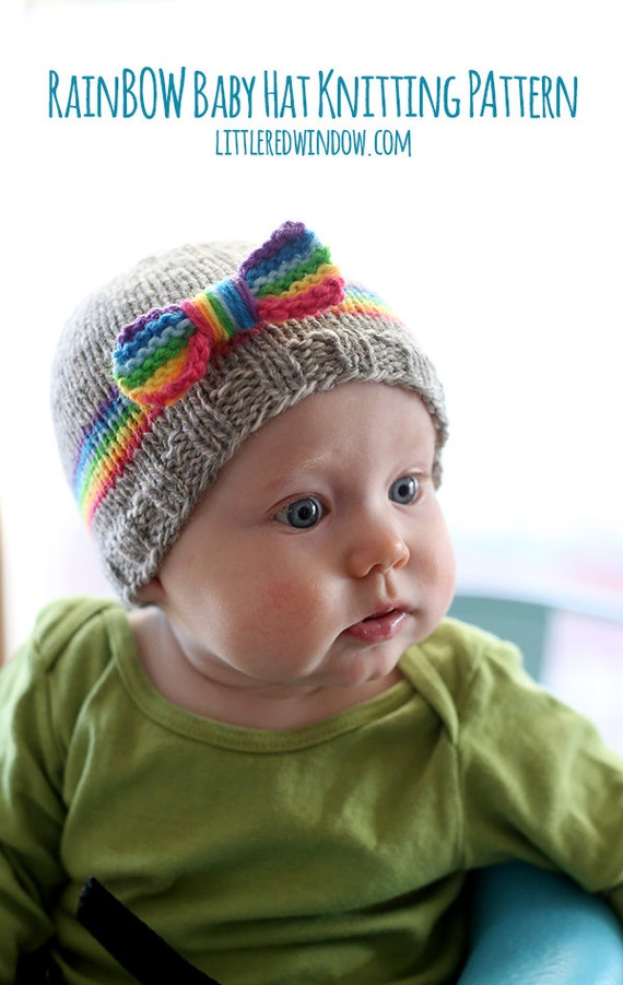 RainBOW Baby Hat KNITTING PATTERN - knit hat pattern for babies, infants - sizes 0-3 months,  6 months, 12 months, 2T+