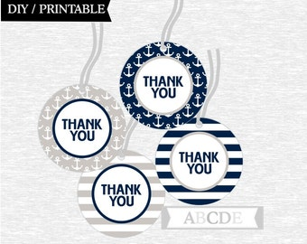 Instant Download Grey and Navy Thank You Tags Baby Shower decorations Its a Boy Baby Shower DIY Printable (PDN115)