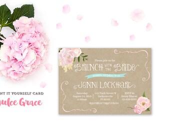 bridal shower invitation, floral brunch invite, floral shower invite, printable invitation, kraft paper, floral invite, whimsical invite