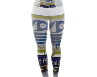 "Yoga Leggings - Blue Multicolor Philip Brown ""Miami Beach lifeguard Stand"" PB2003A Great Gift Idea!"