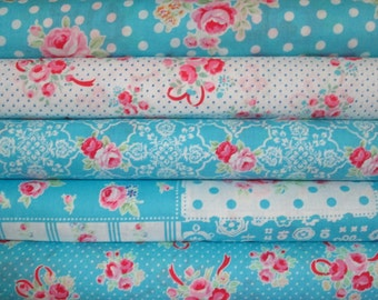 Lecien Flower Sugar, Spring 2016, Aqua and White, Fat Quarter Bundle of 5, Japanese Fabric