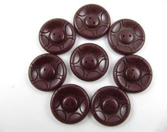 Lot of 8 Vintage Chocolate Brown Carved Plastic Buttons * 30 mm *** P-141