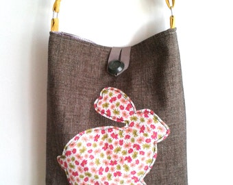 Handmade hobo bag-Handmade fabric bag - Applique handbag - Hobo Bag with rabbit applique