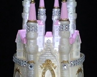 Castle Cake Topper Cinderella Fairytale Wedding - Princess Pink - LIGHTED