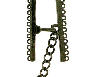 Nine or Eleven-Strand Hook and Eye Clasp in Black Copper Finish, 30mm or 37mm