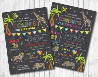 Safari invitation, Safari invite, Jungle invitation, Animals Invitation, Animal Invite, Jungle invite, Boys Girls invite, printable invite