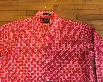 Vintage 60s Campus Red White Chain Link Mod Shirt Large