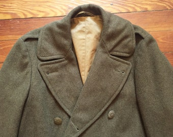 Vintage 40s 1942 Dated World War 2 Overcoat Military 38R