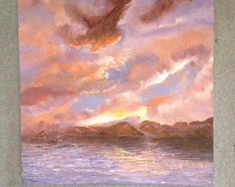 Big sky seascape painting: Sunset in acrylic