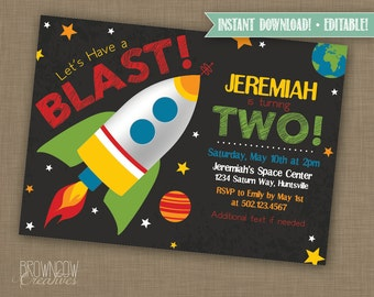 INSTANT DOWNLOAD // Editable // Printable Space/Rocket/Outer Space Boys Birthday Party Invitation