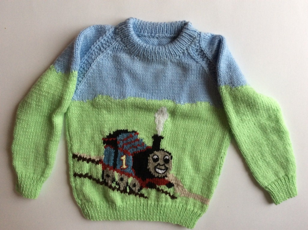 Knitting Pattern Train Sweater : Hand Knitted Thomas the Train Sweater hand knit toddler child