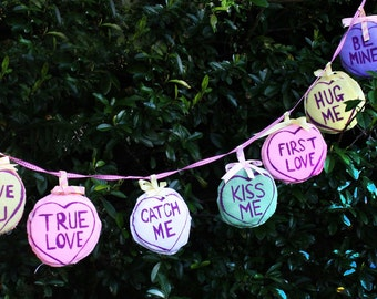 Valentines 'Love Hearts' Sweets Bunting Felt 3D Bunting Garland! Made to Order