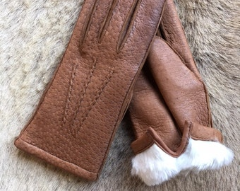 Winter Gloves Peccary Leather Gloves with Rabbit fur Lining for women's all size's all colors