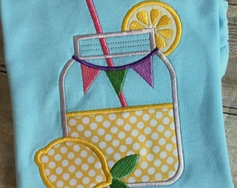 Lemonade Applique Design - Mason Jar Applique Design - Lemonade Embroidery Design - Mason Jar Embroidery Design - Summer Applique Design