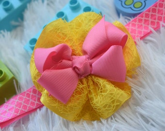 Yellow and pink mesh Bowsette- Baby / Toddler / Girls / Kids Hairclip / Headband / Hairband /Barrette