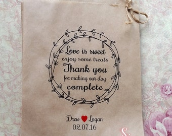 Love is Sweet complete Personalised Kraft brown Paper Candy Buffet Lolly Bags x 50